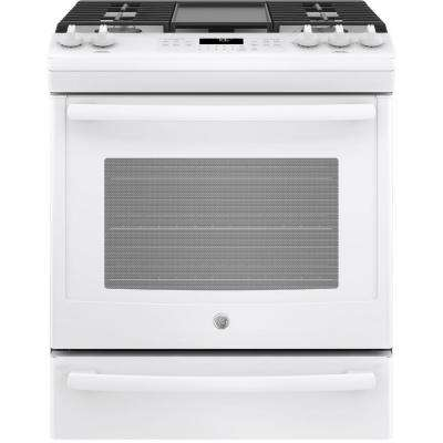 5.6 cu. ft. Slide-In Gas Range with Self-Cleaning Convection Oven in White