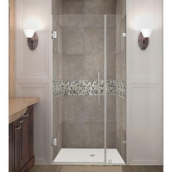 Nautis 29 in. x 72 in. Frameless Hinged Shower Door in Stainless Steel with Clear Glass