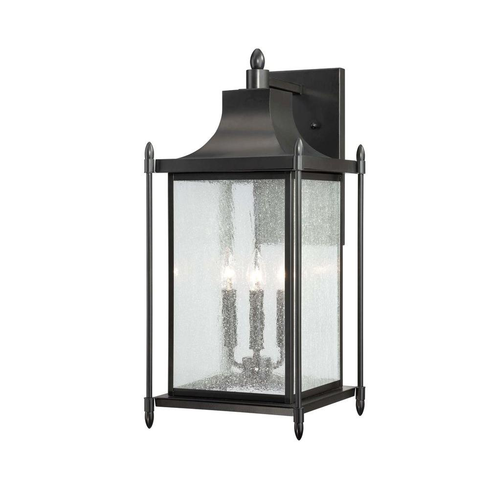 Satin Wall Mount 3-Light Outdoor Black Incandescent Lantern