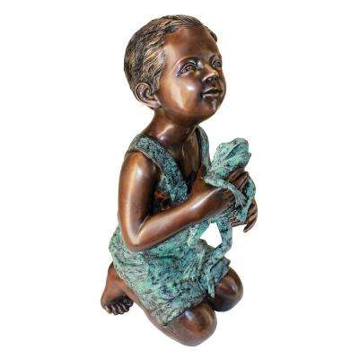 22 in. H New Friend Boy with Frog Cast Bronze Garden Statue