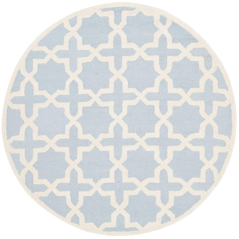 Safavieh Cambridge Light Blue/Ivory 6 ft. x 6 ft. Round Area Rug