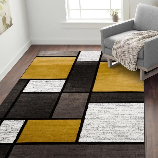World Rug Gallery Contemporary Geometric Boxes Gray Yellow 7 Ft 10 In X 10 Ft 2 In Area Rug 106yellow8x10 The Home Depot