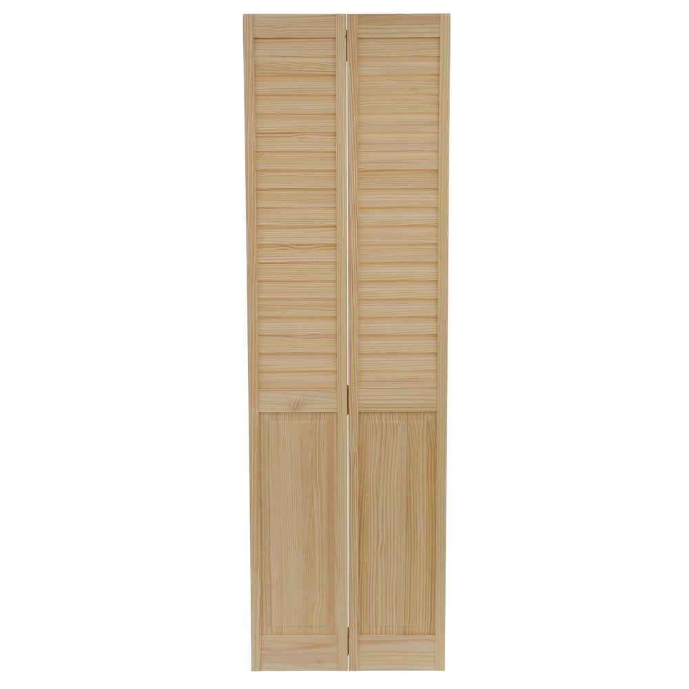 Kimberly Bay 24 In X 80 In 24 In Plantation Louvered Solid Core Unfinished Panel Wood Interior Closet Bi Fold Door