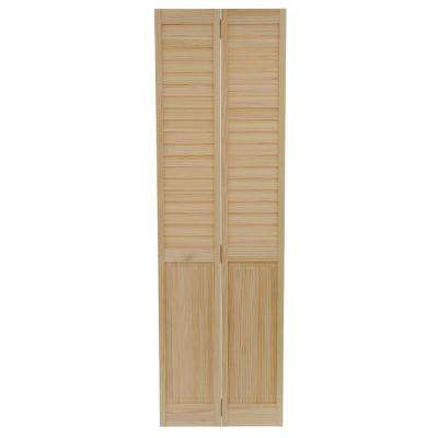 24 in. x 80 in. 24 in. Plantation Louvered Solid Core Unfinished-Panel Wood Interior Closet Bi-Fold Door