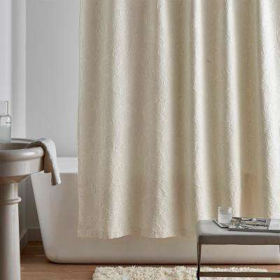 Putnam Matelasse 72 in. Ivory Floral Shower Curtain