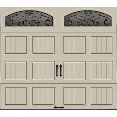 Gallery Collection 8 ft. x 7 ft. 6.5 R-Value Insulated Desert Tan Garage Door with Wrought Iron Window