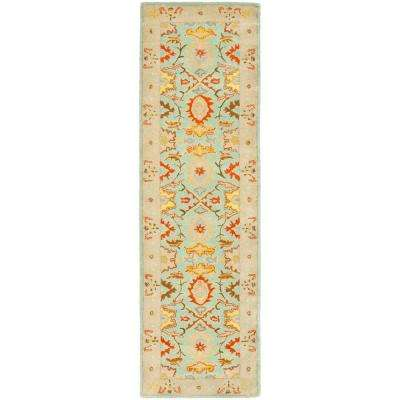 Heritage Light Blue/Ivory 2 ft. x 18 ft. Runner Rug