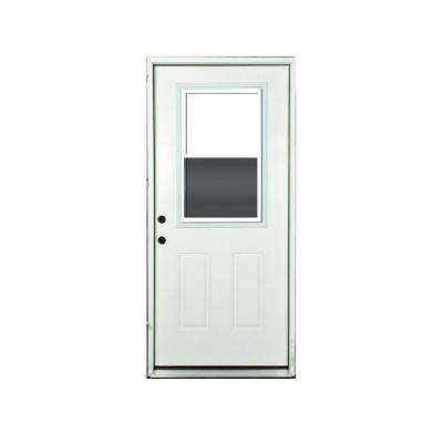 36 in. x 80 in. Vented Right-hand 1/2-Lite Primed White Fiberglass Prehung Front Door