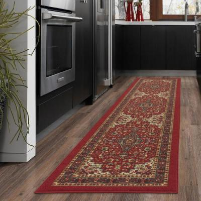 Ottohome Collection Traditional Persian All-Over Pattern Design Dark Red 2 ft. x 5 ft. Runner Rug