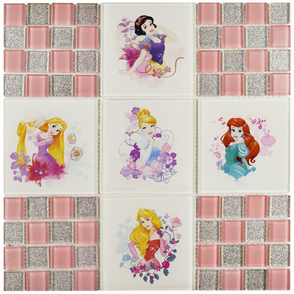 Princesses Pink 11-3/4 in. x 11-3/4 in. x 5 mm Glass