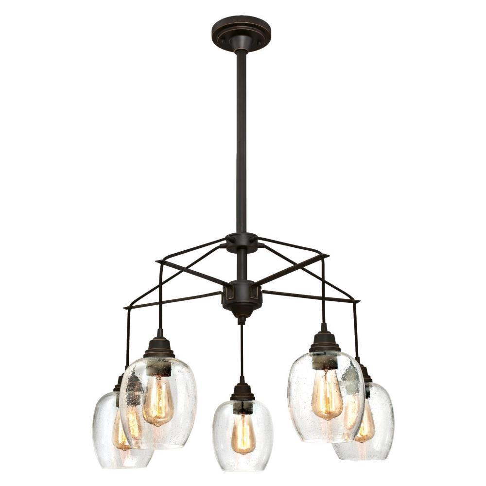 Eldon 5-Light Oil Rubbed Bronze with Highlights Chandelier and Clear Seeded
