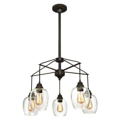 Eldon 5-Light Oil Rubbed Bronze with Highlights Chandelier and Clear Seeded Glass Shades