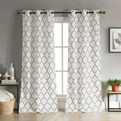 Mason 112 in. L x 38 in. W Polyester Curtain Panel in Taupe (2-Pack)