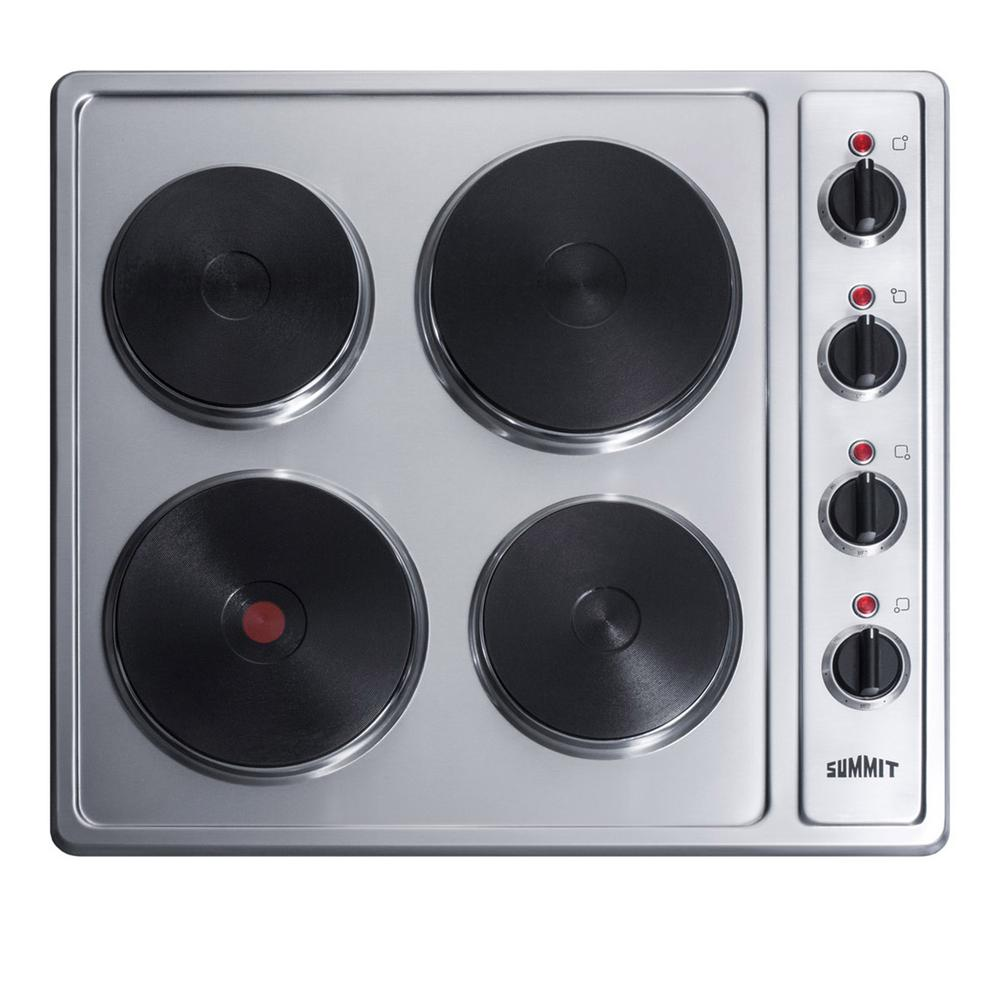 Solid Disk Electric Cooktop In Stainless Steel With 4 Elements
