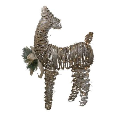 32 in. 3D Pre-Lit Standing Rattan Reindeer with Ivory Bow and Pine Boughs and Cones Outdoor Christmas Decoration