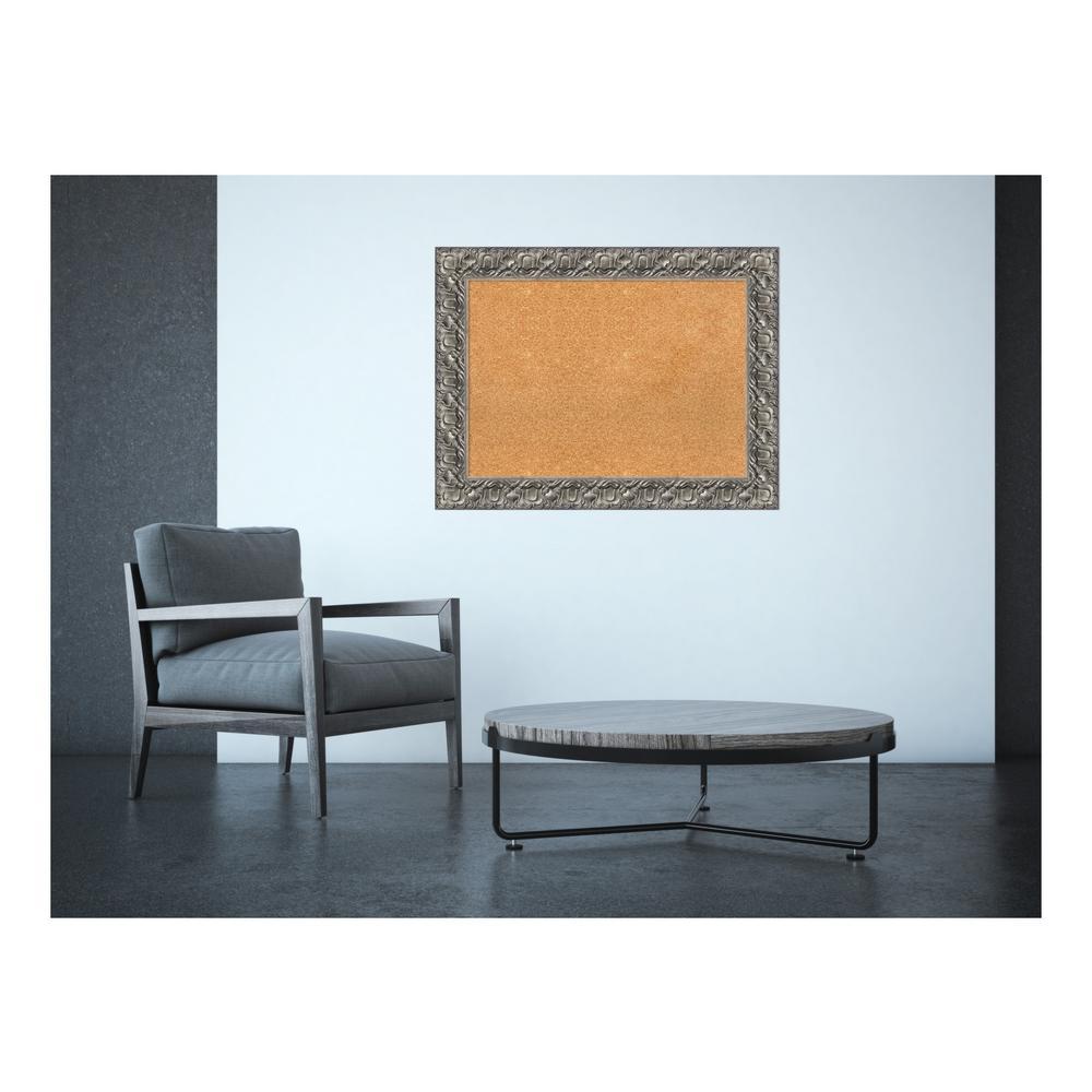 Silver Luxor Wood 34 in. x 26 in. Framed Cork Memo Board