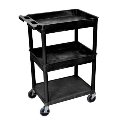 STC 24 in. W x 18 in. D 3 Tub Top and Flat Middle/Bottom Shelf Utility Cart