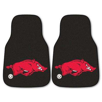 University of Arkansas 18 in. x 27 in. 2-Piece Carpeted Car Mat Set