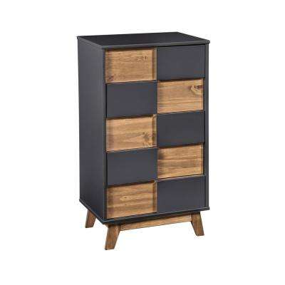 Livonia 36.22 in. High 5-Drawer Dark Grey and Natural Wood Dresser