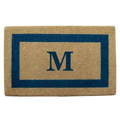 Single Picture Frame Tan/Blue 22 in. x 36 in. Heavy Duty Coir Monogrammed M Door Mat
