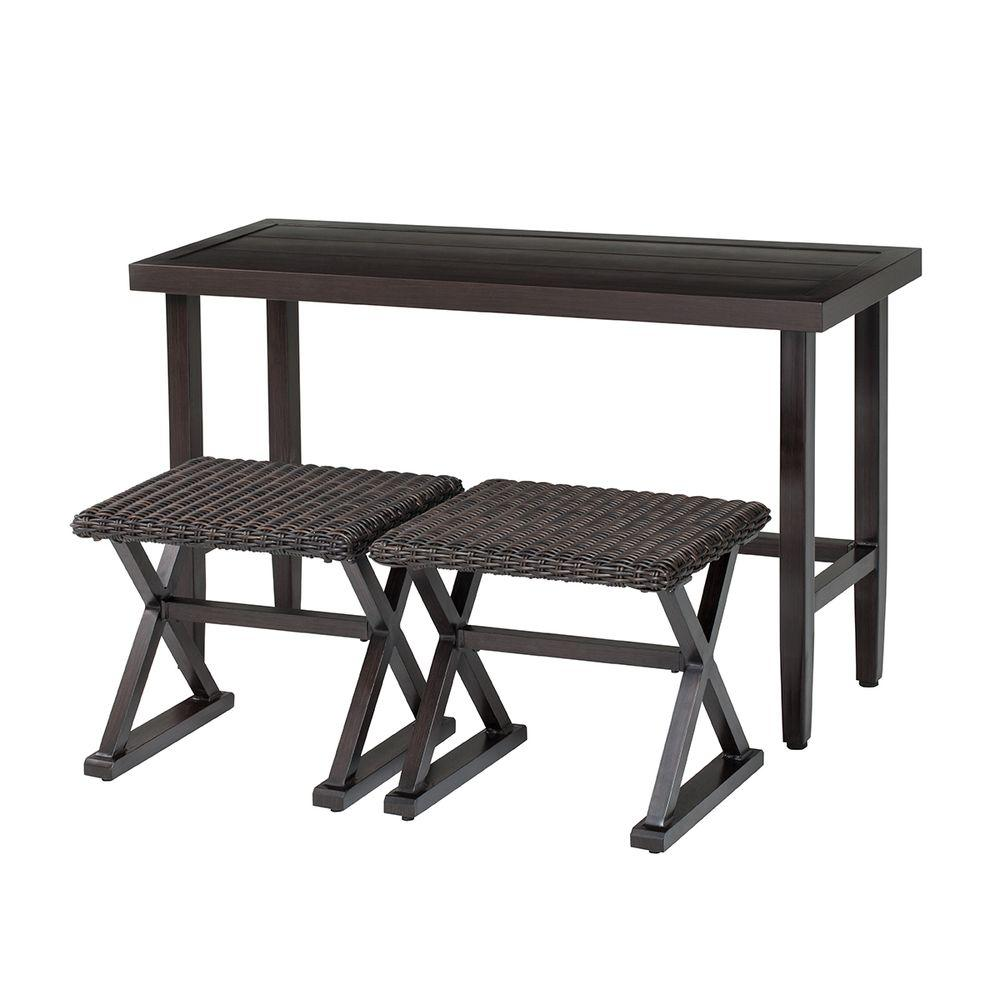 Hampton Bay Woodbury 3 Piece Wicker Outdoor Patio Console Set DY9127 3 CON    The Home Depot