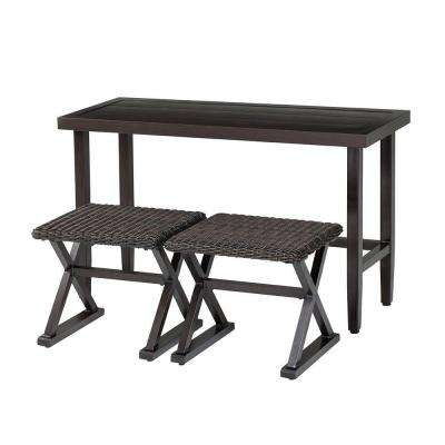 Woodbury 3-Piece Wicker Outdoor Patio Console Set