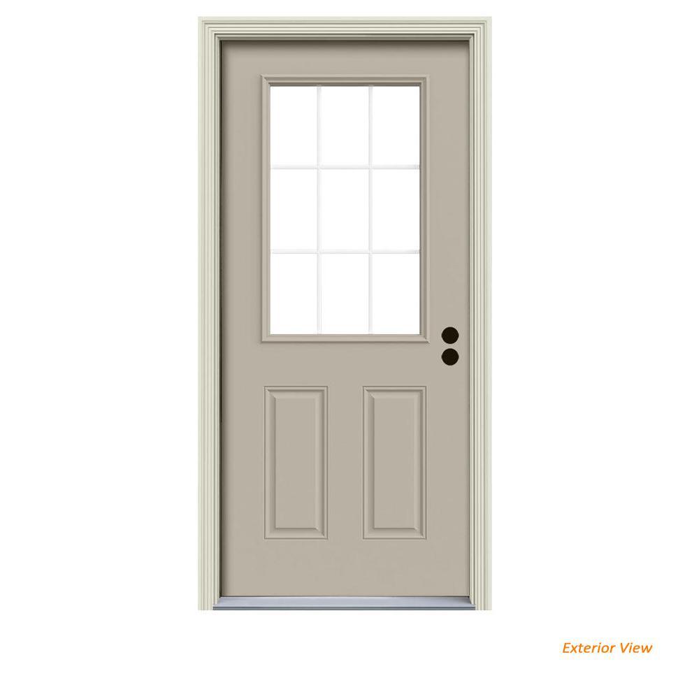 32 in. x 80 in. 9 Lite Desert Sand Painted Steel Prehung Left-Hand Inswing Front Door w/Brickmould