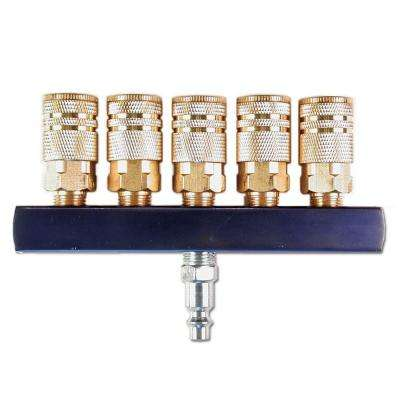 1/4 in. 5-Way Air Manifold with Brass Couplers