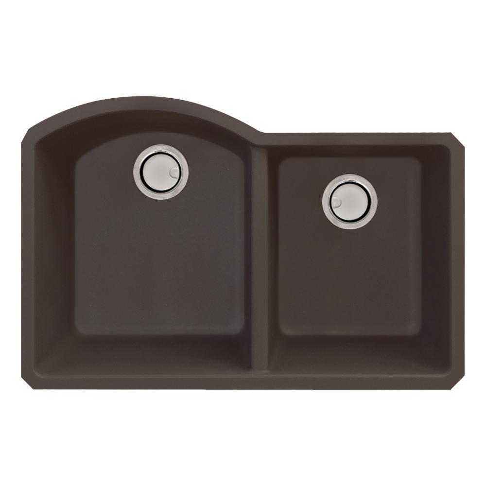 Aversa Undermount Granite 32 in. 1-3/4 D-Shape Double Bowl Kitchen Sink in Espresso