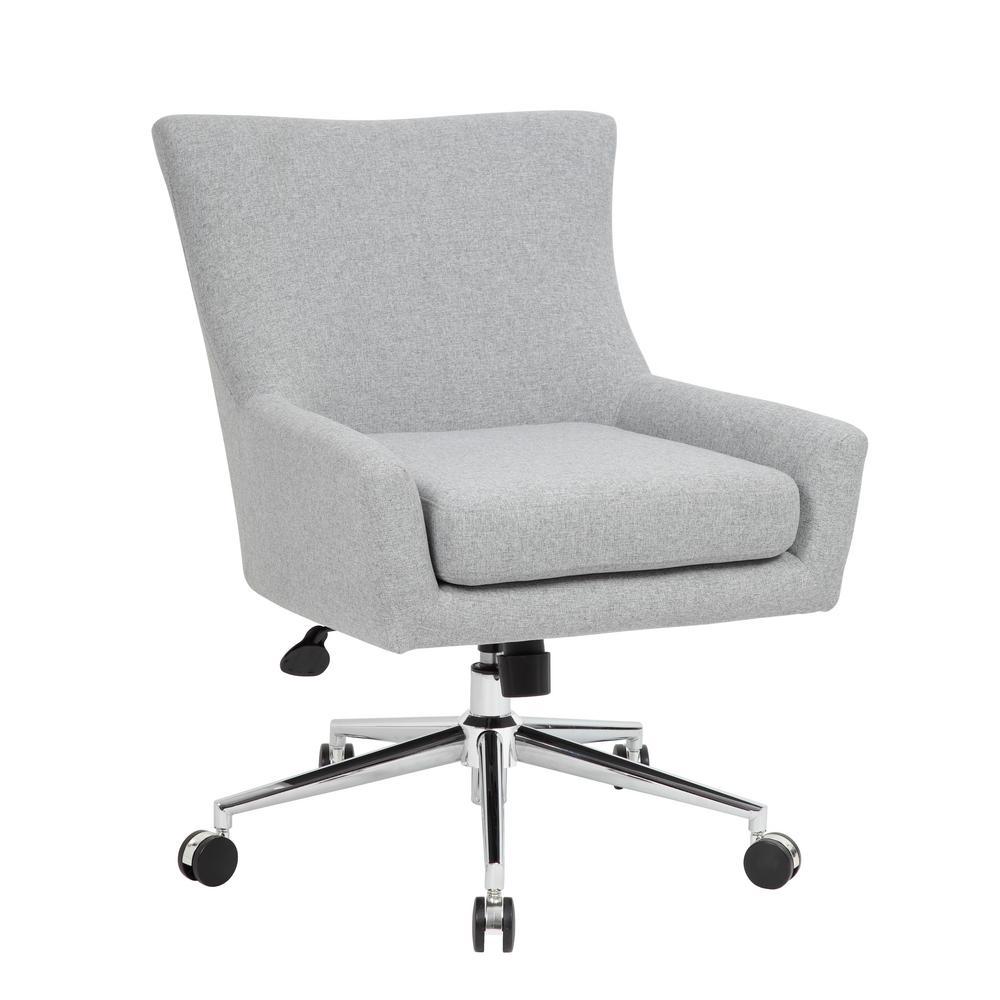 Designer Style Desk Chair. Granite Linen Fabric. High Crown Chrome Plated Base. Pneumatic Lift.