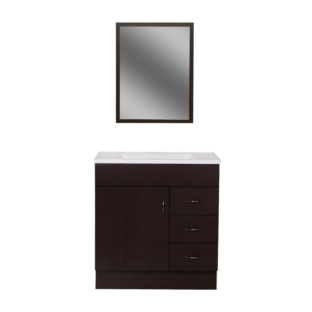 St. Paul Vanguard 30 In. Vanity In Ebony With Alpine Vanity Top In White