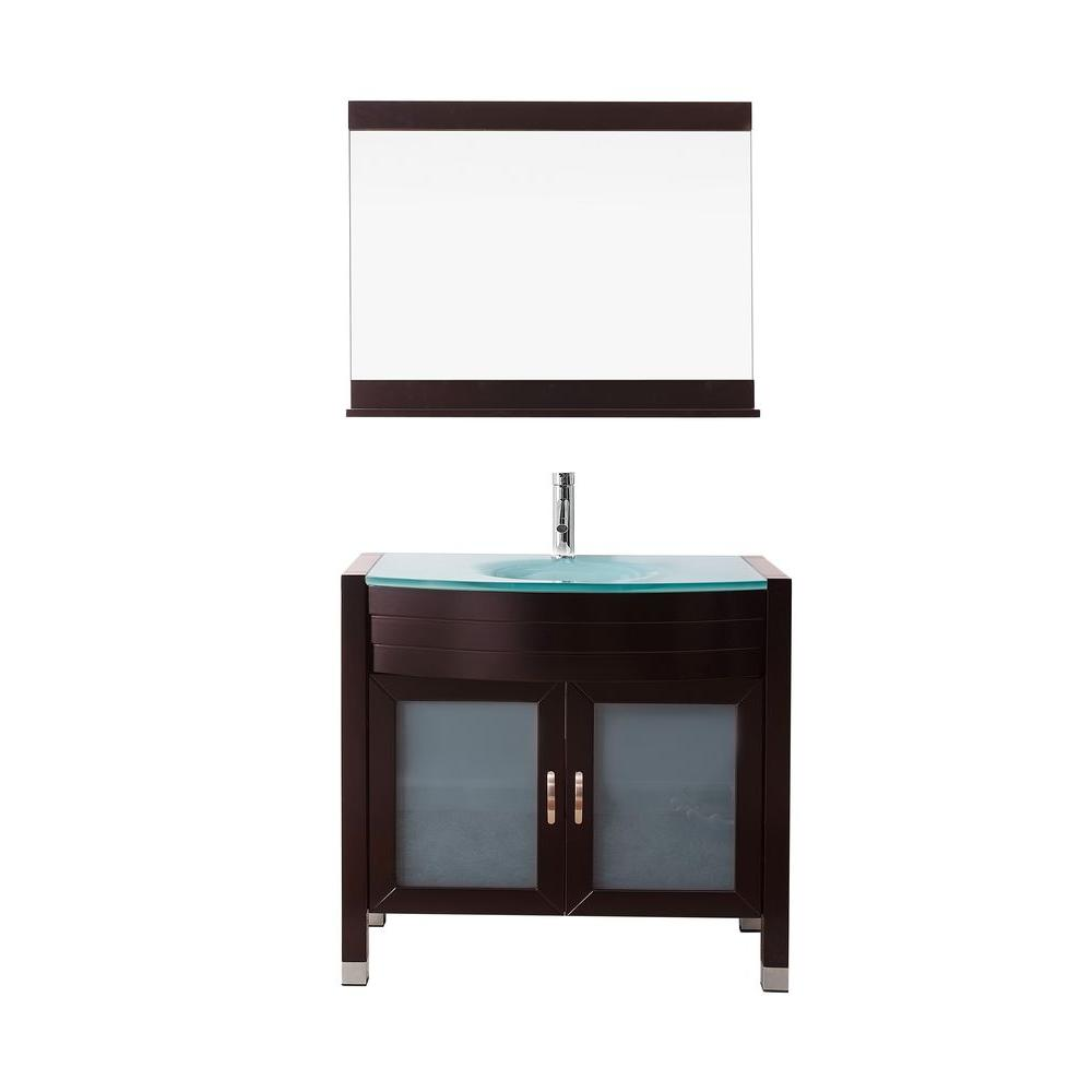 Virtu USA Ava 36 in. W Bath Vanity in Espresso with Glass Vanity Top in Aqua Tempered Glass with Round Basin and Mirror and Faucet
