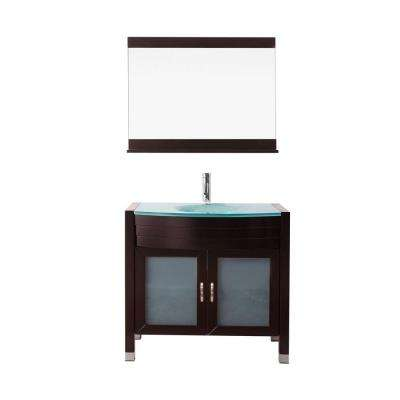 Ava 36 in. W Bath Vanity in Espresso with Glass Vanity Top in Aqua Tempered Glass with Round Basin and Mirror and Faucet