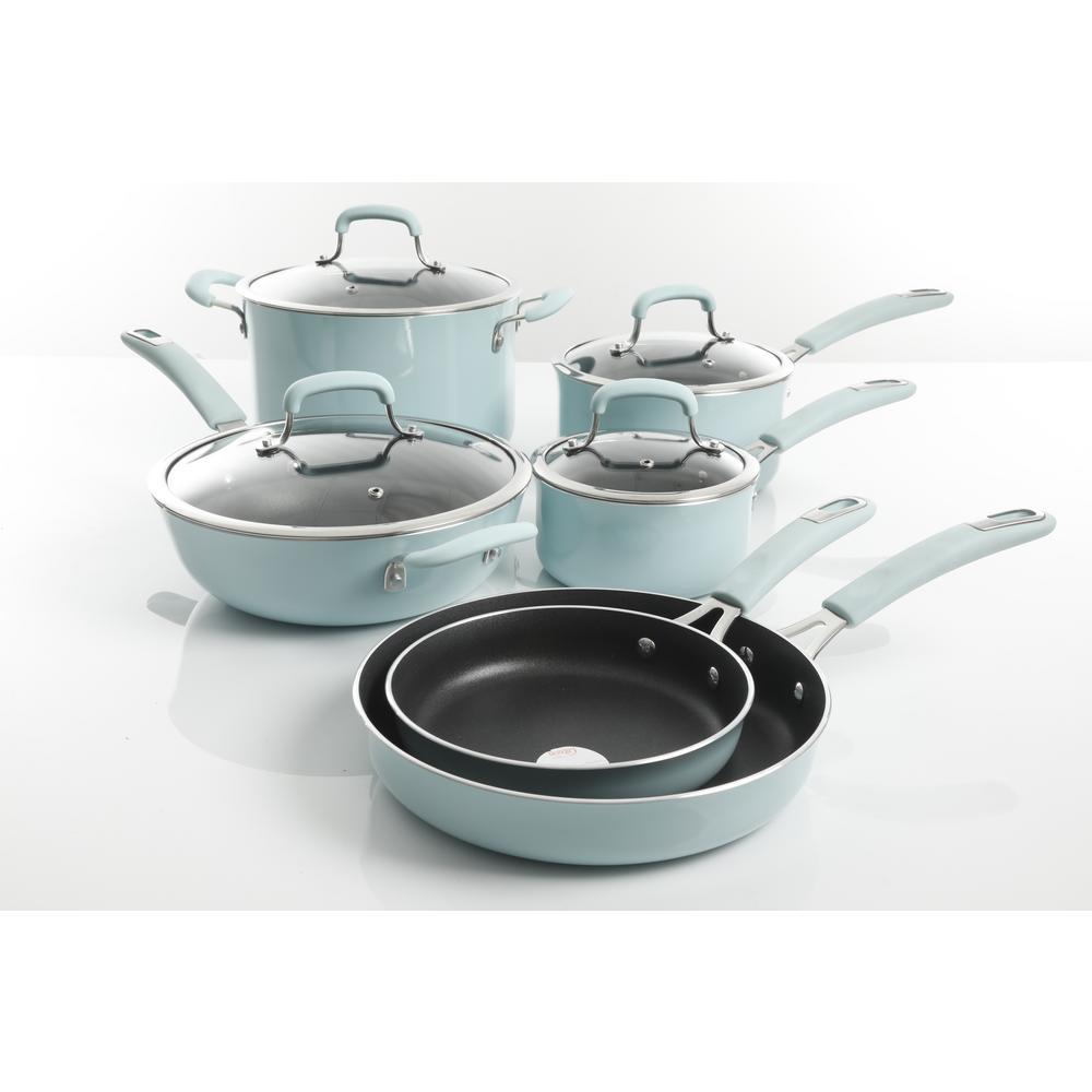 Andover 10-Piece Aluminum Nonstick Cookware Set in Glacier