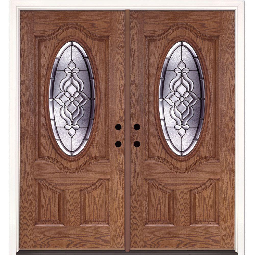 74 in. x 81.625 in. Lakewood Patina 3/4 Oval Lite Stained Medium Oak Left-Hand Fiberglass Double Prehung Front Door
