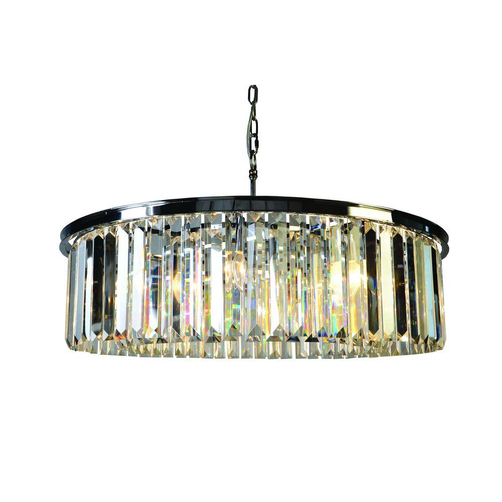 Yosemite Home Decor White Wing Collection 8 Light Satin Nickel Chandelier With Crystal Shade