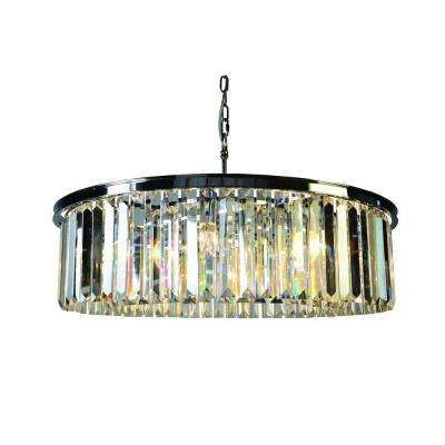 White Wing Collection 8-Light Satin Nickel Chandelier with Crystal Shade