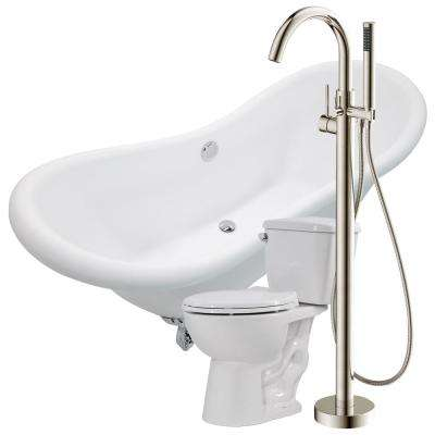 Aegis 68.75 in. Acrylic Clawfoot Non-Whirlpool Bathtub with Kros Faucet and Author 1.28 GPF Toilet