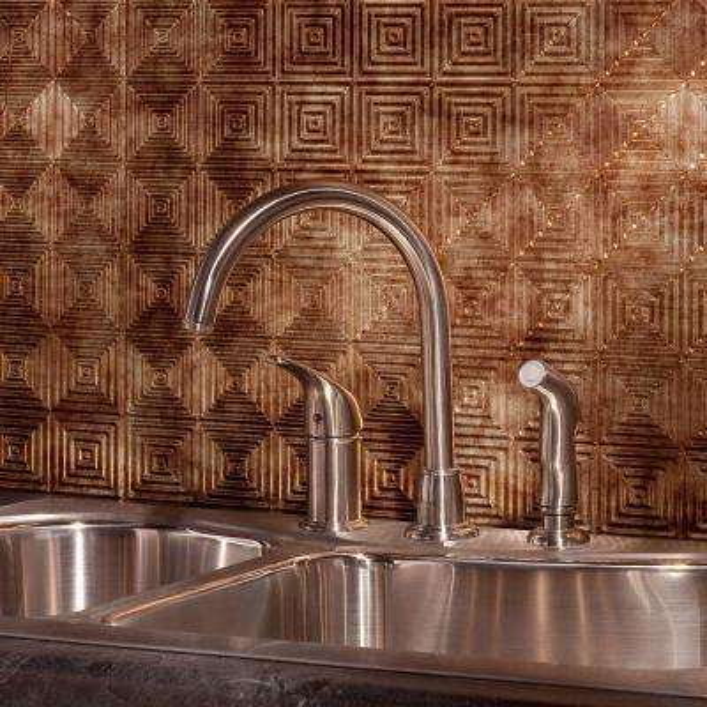 24 in. x 18 in. Miniquattro PVC Decorative Backsplash Panel in Bermuda Bronze