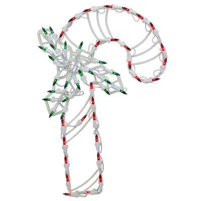 18 in. Lighted Candy Cane with Holly Christmas Window Silhouette Decoration (4-Pack)