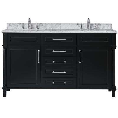Aberdeen 60 In W X 22 In D Vanity In Black With Carrara Marble Top With White Sinks