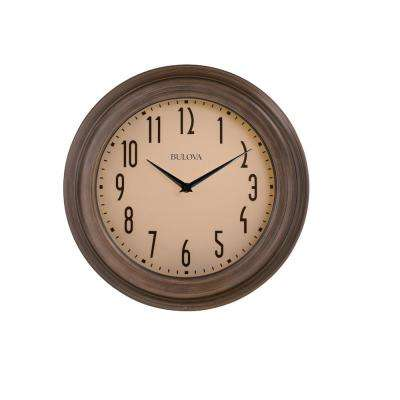 14 in. H x 14 in. W Dark Wood Tone Case Round Wall Clock