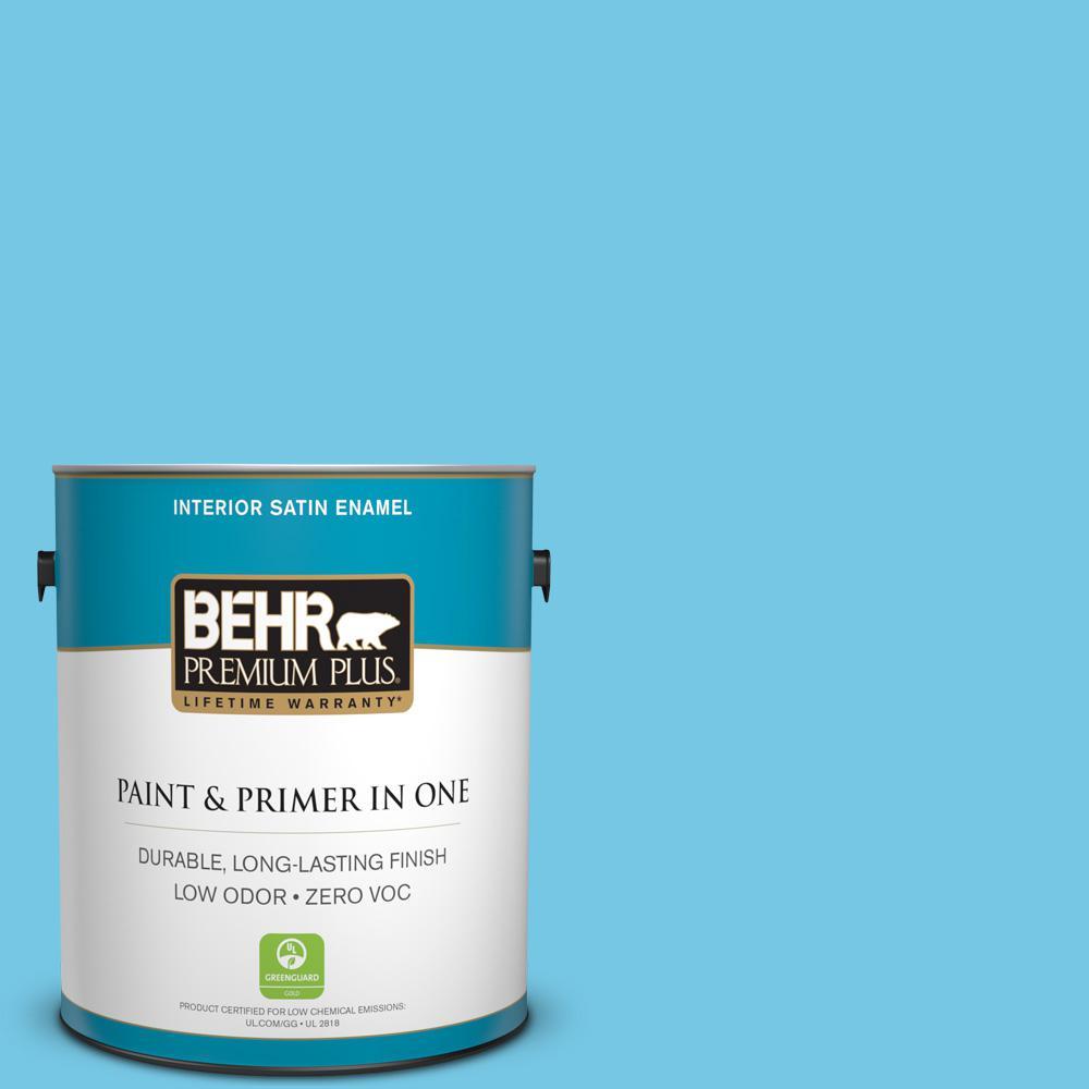BEHR Premium Plus 1-gal. #530B-4 Bliss Blue Zero VOC Satin Enamel Interior Paint