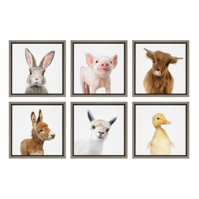"""Sylvie """"Farm Animals"""" by Amy Peterson Framed Canvas Wall Art, Set of 6"""