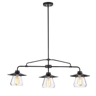 Temet 3-Lamp Matte Black Chandelier with Hooded Glass Shade