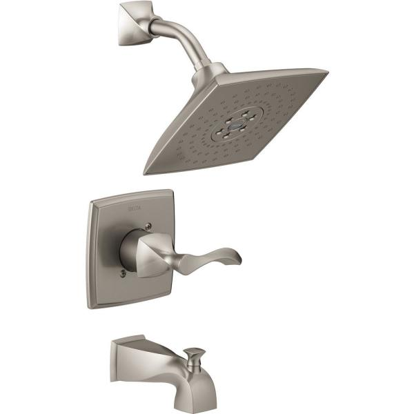 Everly H2Okinetic Single-Handle 3-Spray Tub and Shower Faucet in SpotShield Brushed Nickel (Valve Included)