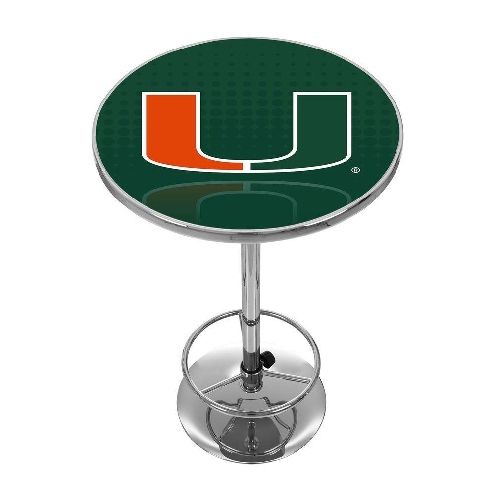 University of Miami Reflection Chrome Pub/Bar Table