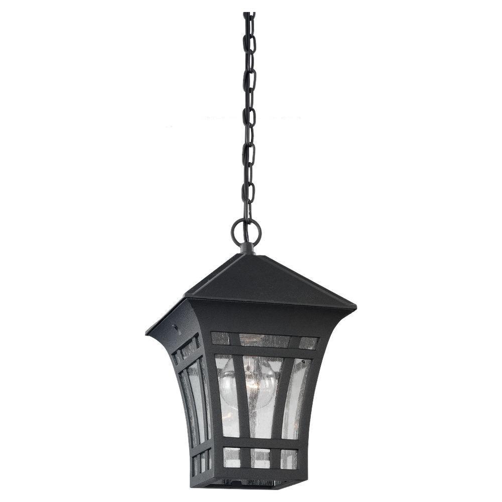 Herrington 1-Light Black Outdoor Hanging Pendant Fixture