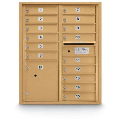 15-Compartment Standard 4C Front Laoding Mailbox in Gold