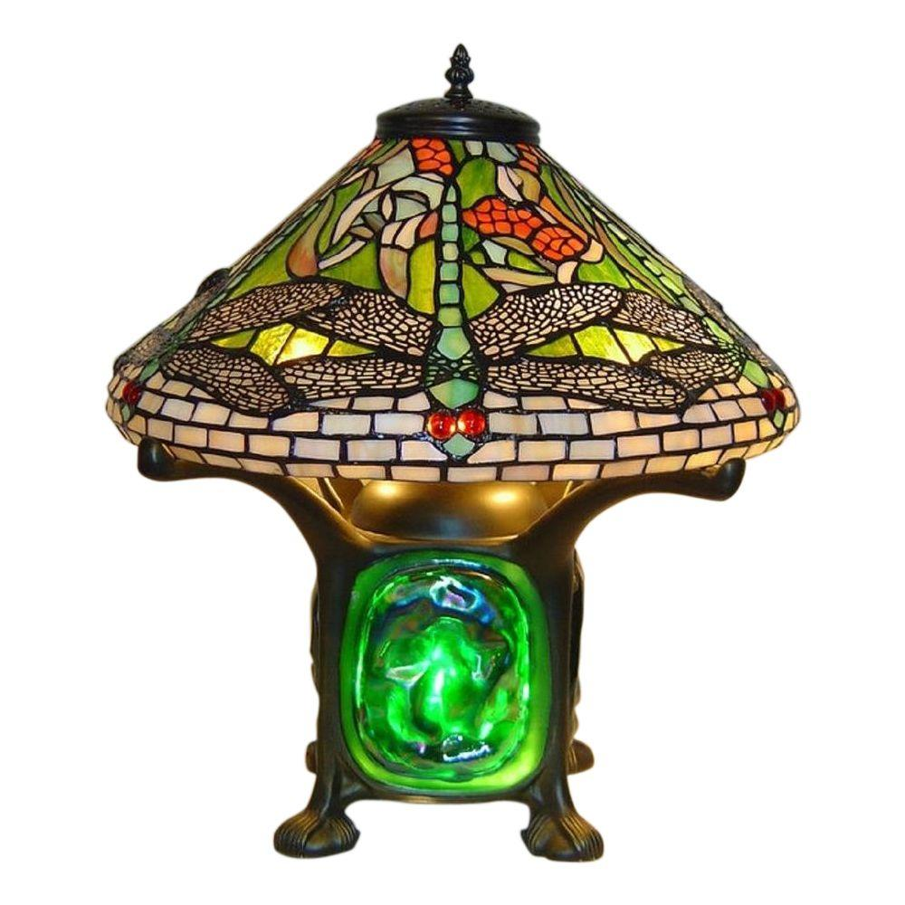 Height Tiffany Green Dragonfly Luminescent Table Lamp T16011K   The Home  Depot